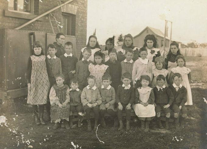 Photograp, group of children in front of Teesdale Primary School circa 1900