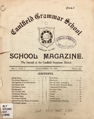 Cover of School magazine : journal of the Caulfield Grammar School.