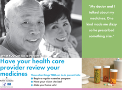 title text with black and white image of two older adults smiling and separate image of medications