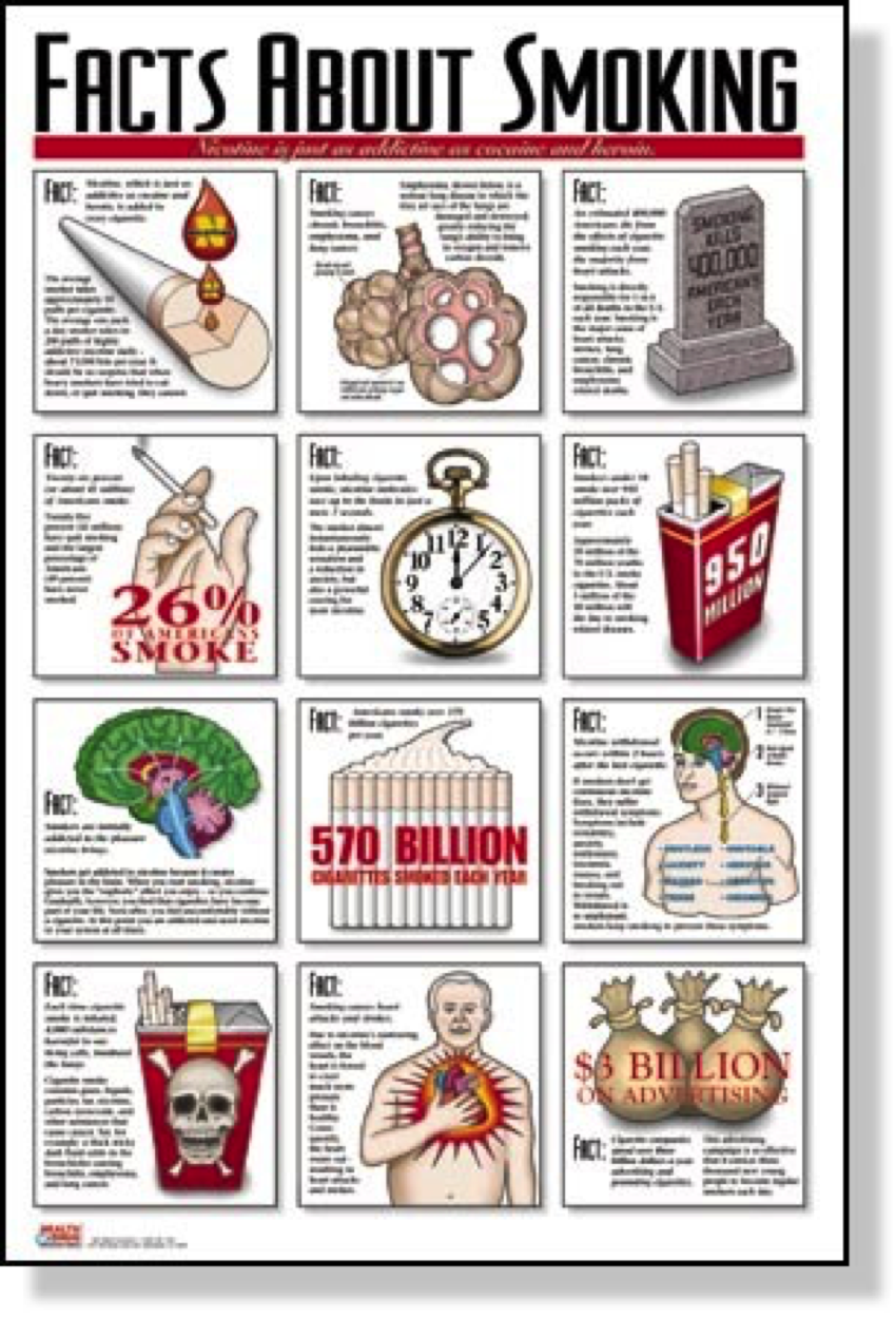Poster with 12 Facts about Smoking