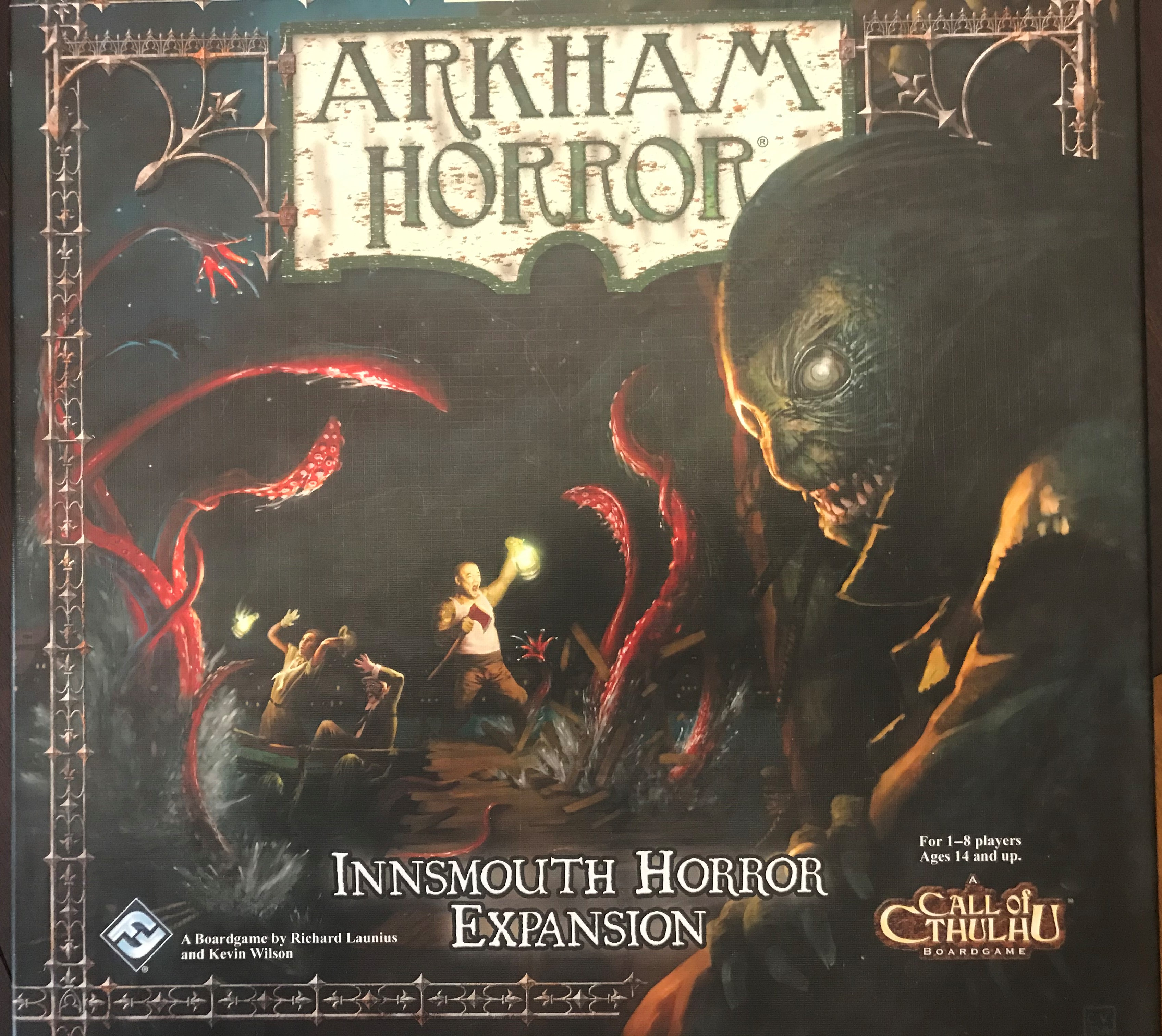 Image shows three investigators trying to find their way through a tentacled forest. In the foreground a monster gazes over their shoulder at us. Cover text says, the classic game of Lovecraftian adventure. Arkham Horror. Innsmouth Horror Expansion. A boardgame by Richard Launius and Kevin Wilson. For 1-8 players, Ages 14 and up. A Call of Cthulhu board game.