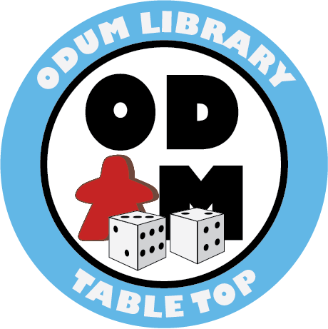 "Circular image with a blue band around the outside. Inside the blue band are the words ""Odum LIbrary"" at the top and ""Tabletop"" at the bottom. Inside the circle are the letters ""O"" ""D"" ""M"" with a red meeple to represent a ""U"". Altogether the letters inside the circle represent the word ""ODUM""."