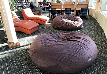 New bean bag chairs in the library