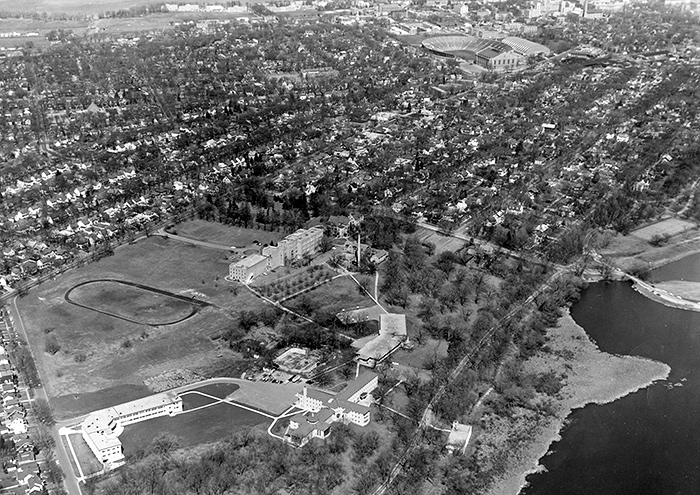 Aerial view of the Edgewood Campus, circa 1959