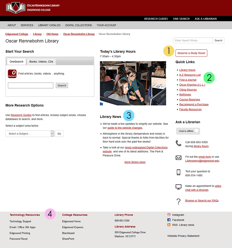 Screenshot of the old library home page