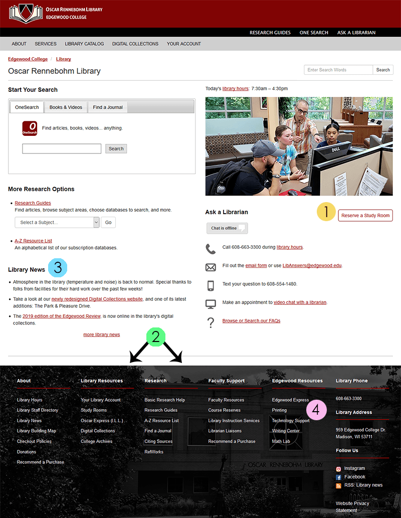 screenshot of the new library home page