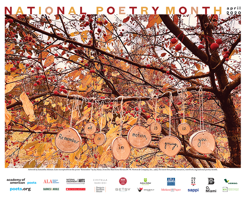 Poster with a poem written on slices of trees