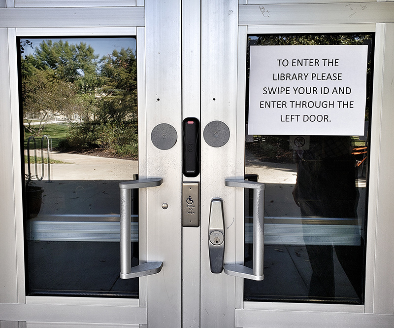 Entry doors to the library with swipe access