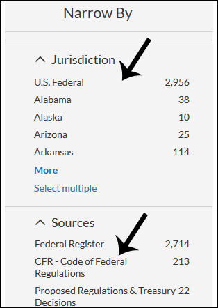 screenshot: narrow by jurisdiction and sources