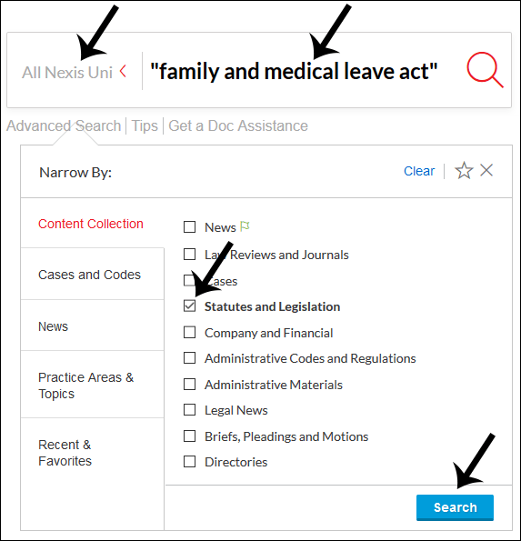 Screenshot: search for 'family and medical leave act'