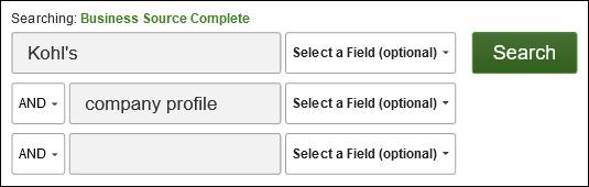 search boxes with 'Kohls' in one box and 'company profile' in another