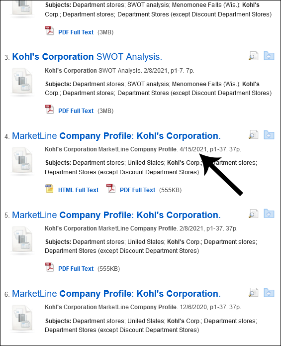Search results screen with various entries for Kohl's Corporation