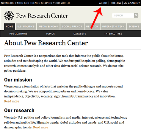 Screen shot of the About page from the Pew Research Center