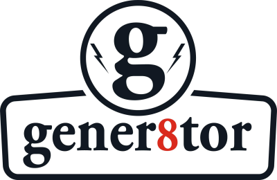 a lowercase G with lightnight bolts above the word gener8tor