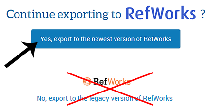 Screenshot: Export to RefWorks