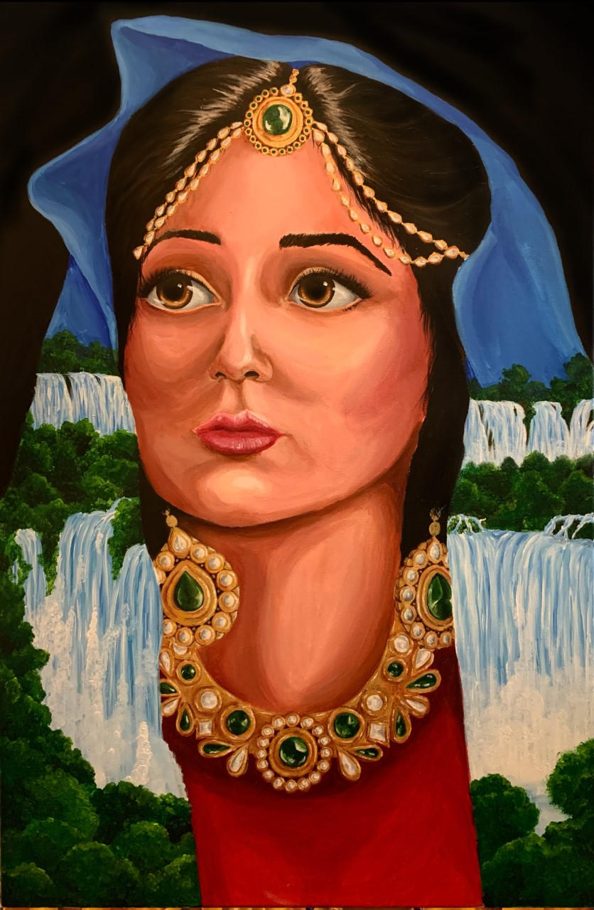 Painting of a woman's face with a waterfall scene painted on her clothing