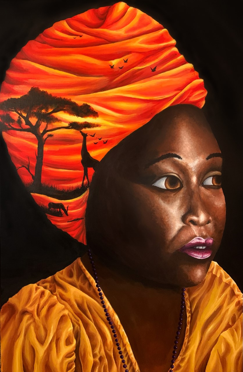 Painting of a woman's face with scenes of an African savanna painted on her clothing
