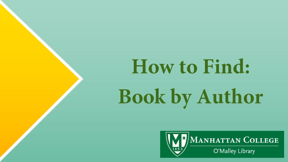 How to Find: Book by Author