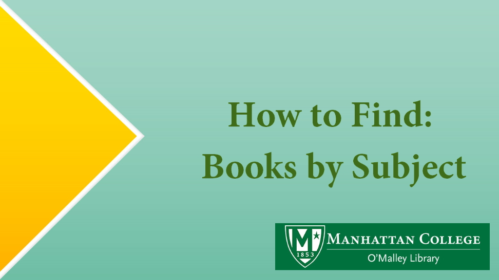 How to Find: Books by Subject