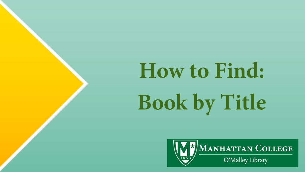 How to Find: Book by Title