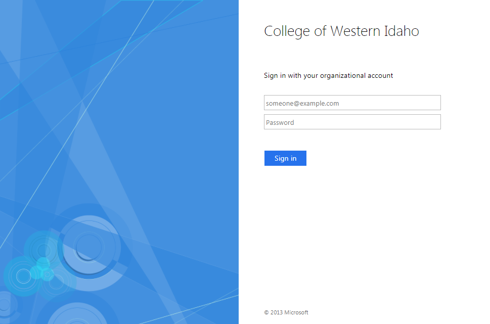 College of Western Idaho Library Login Screen