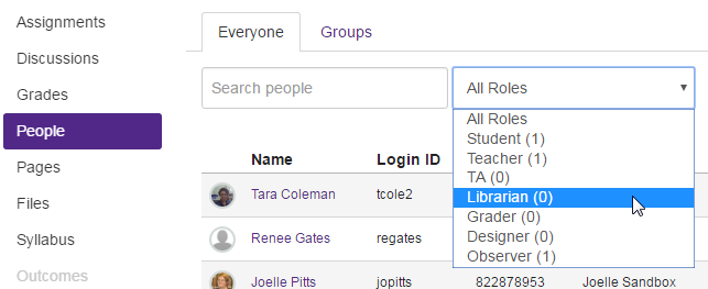 Canvas screen for adding people to course