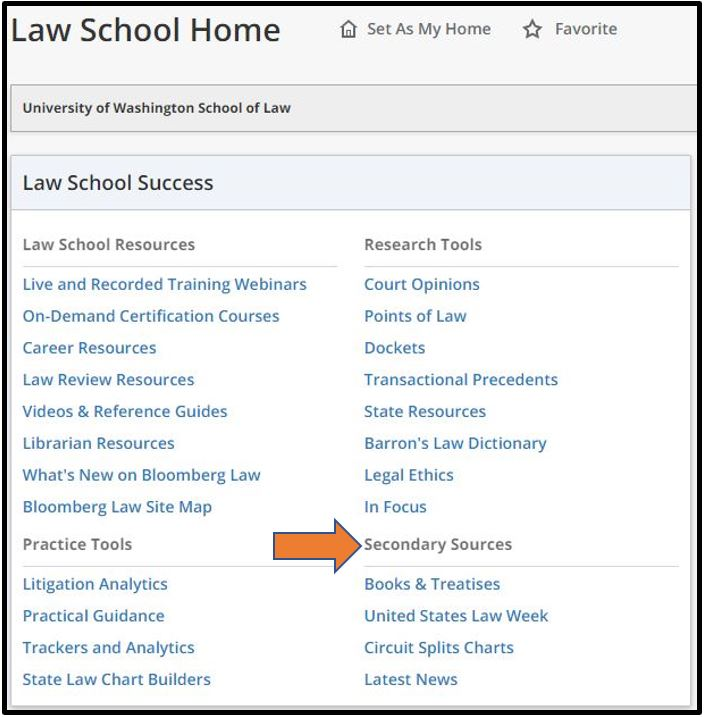 Screenshot of law school home page with arrow pointing out secondary sources section