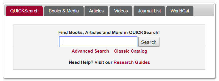 QUICKsearch on the Jackson Library Home page