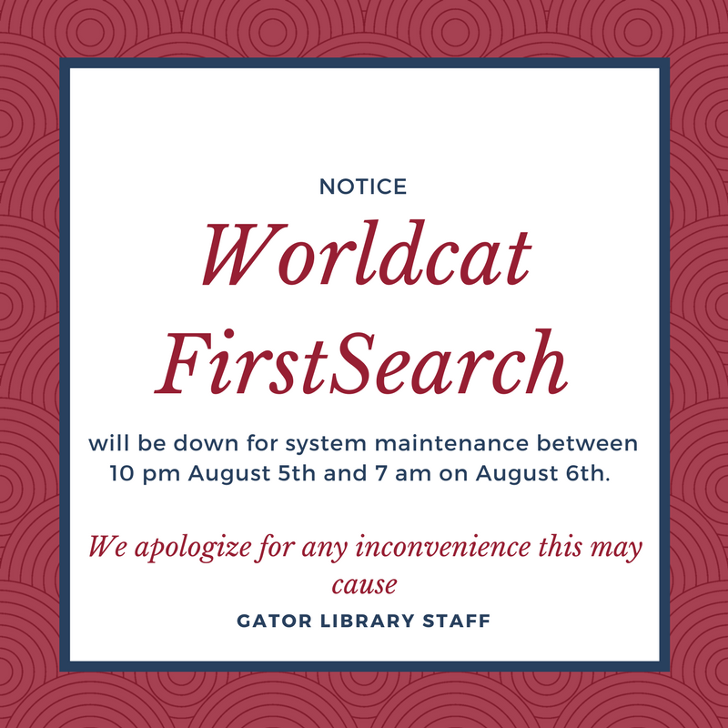Worldcat First Researcher will be down between 10pm August fifth and 7am August sixth