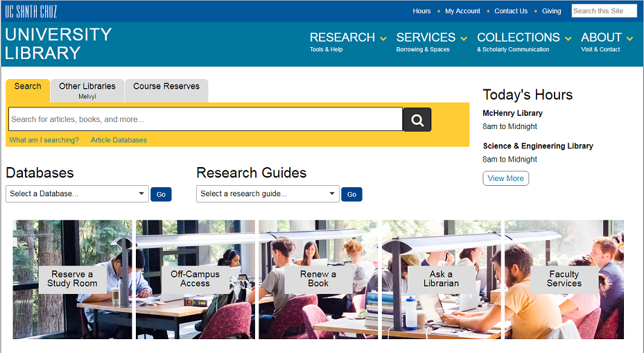 UCSC Library homepage