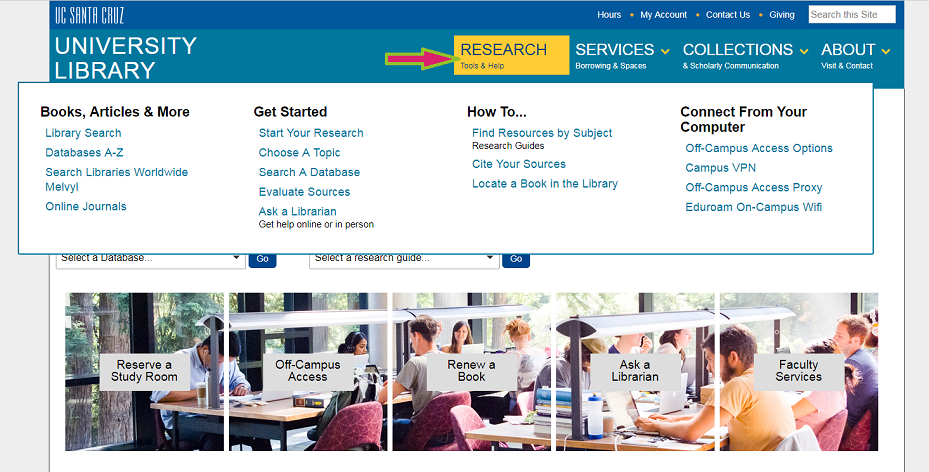 UCSC Library homepage > Research tab