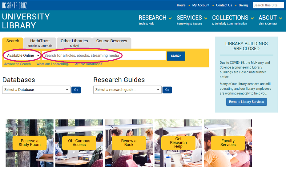 library home page: Library Search