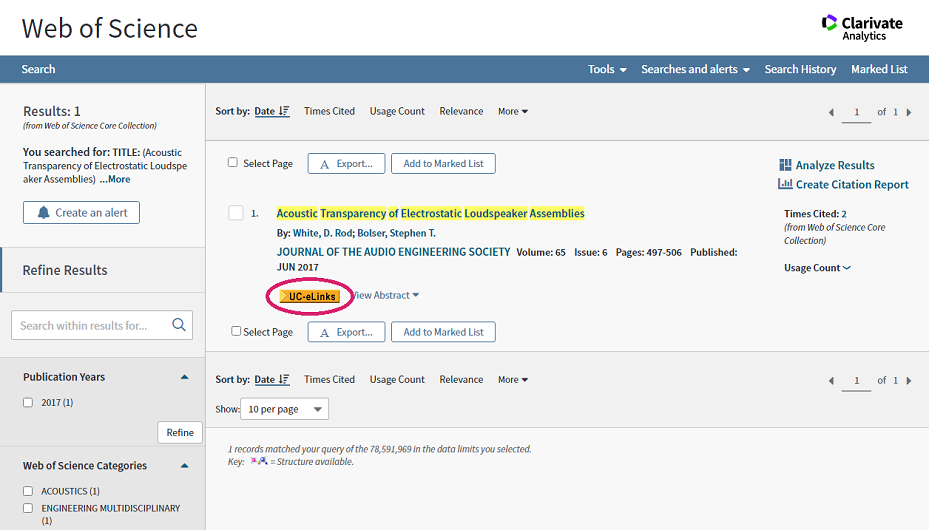 UC-eLinks button in Web of Science database