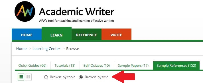 """Academic Writer screenshot with arrow pointing to """"Browse by title."""""""