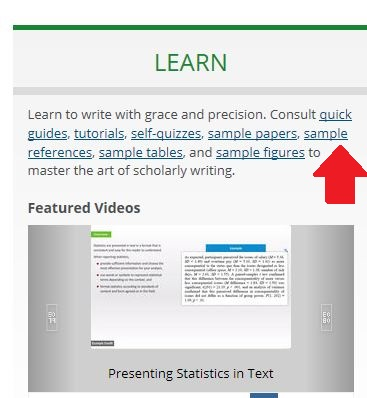 Academic Writer screenshot with arrow pointing to sample references.