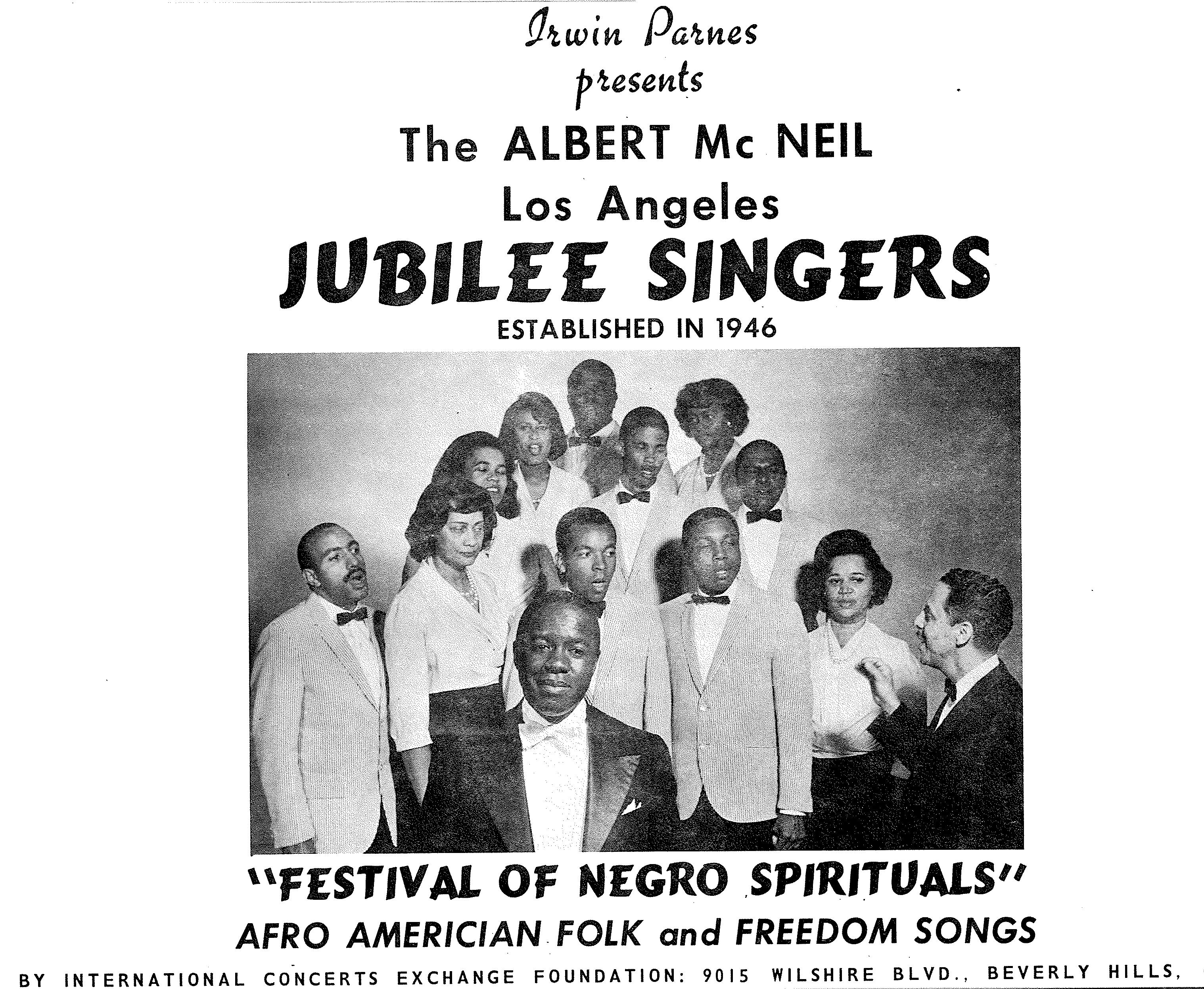 Jubilee Singers program