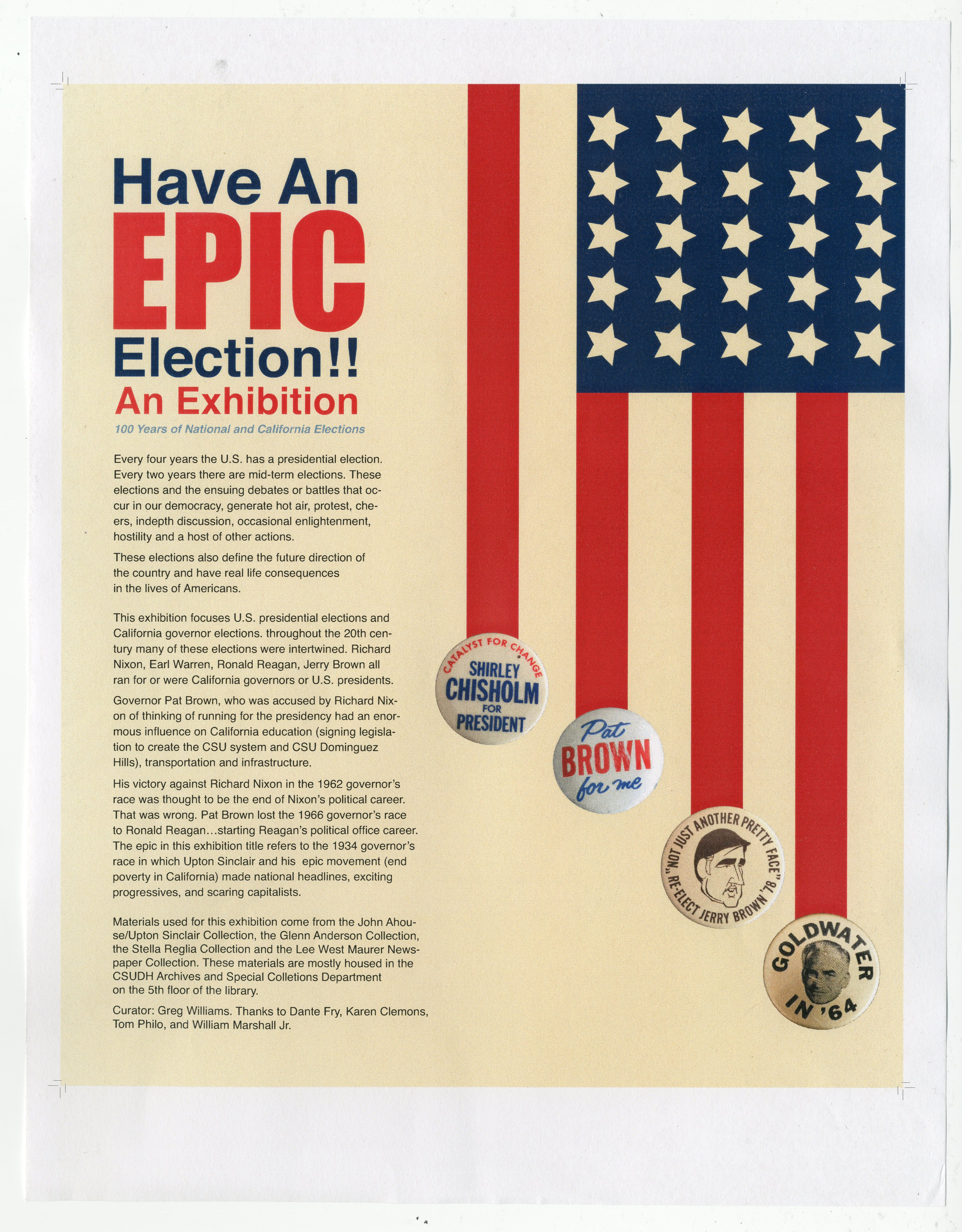 Have an EPIC Election exhibition introduction poster
