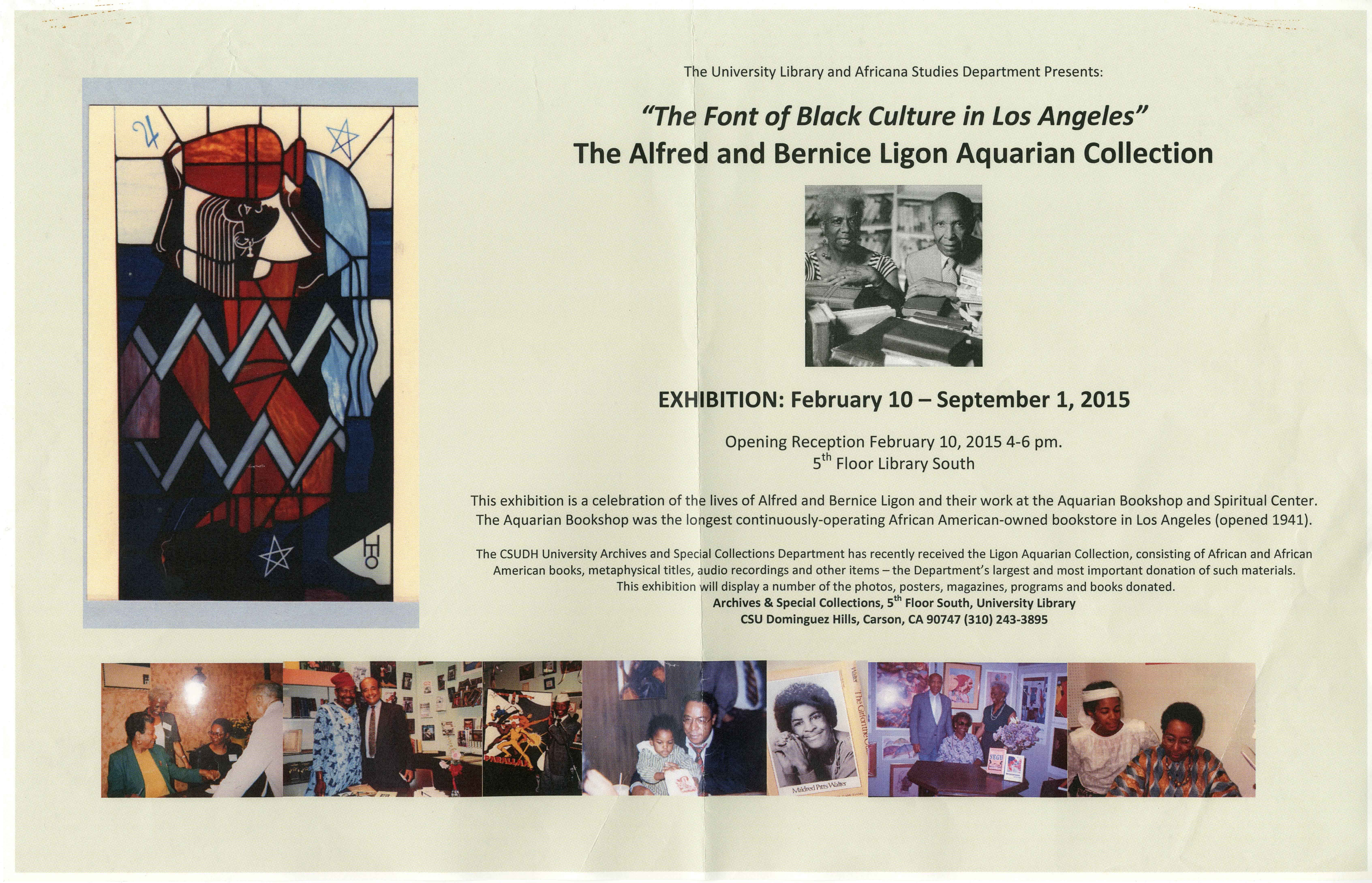 Alfred and Bernice Ligon Aquarian Collection exhibit flyer