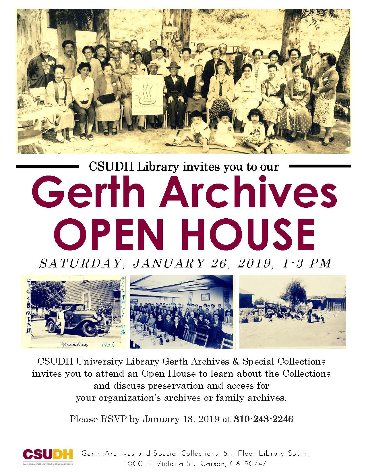 Gerth Archives Open House flyer