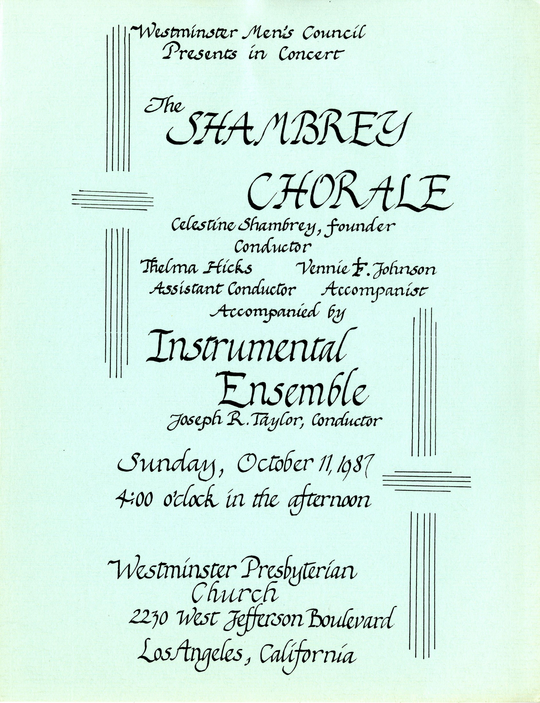 Shambrey Chorale program