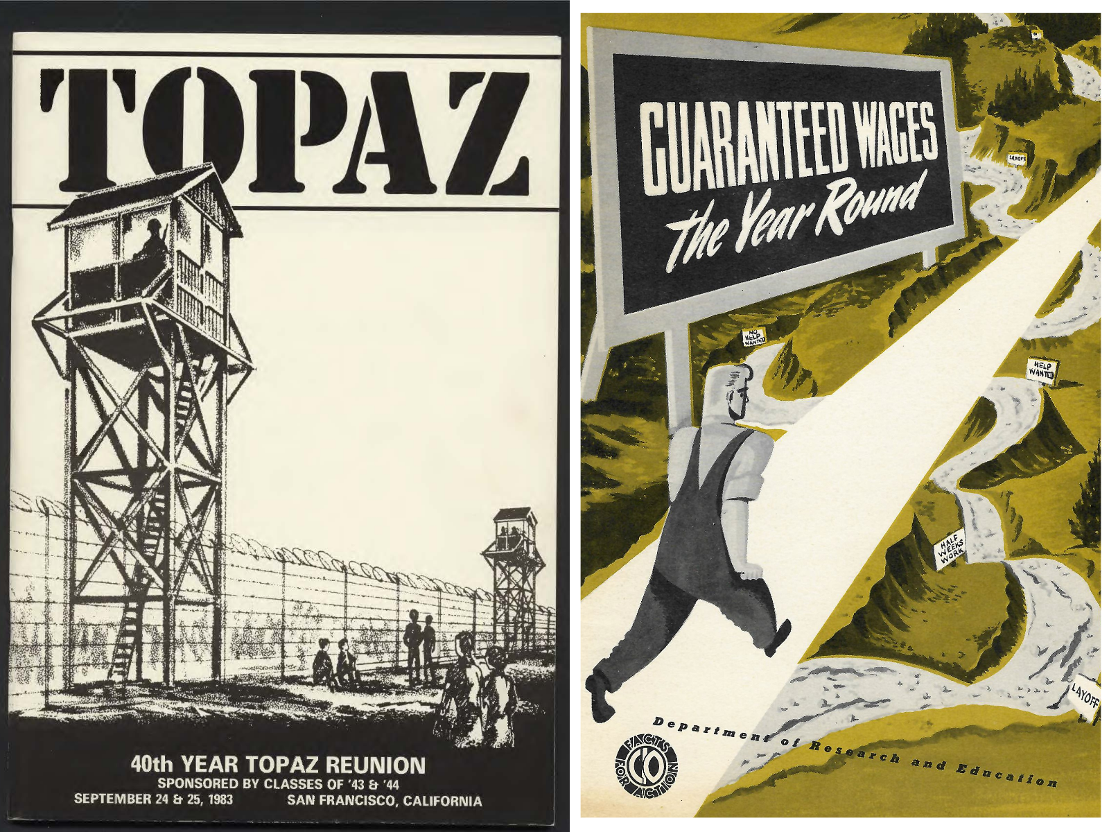 covers of Topaz incarceration anniversary publication and labor publication