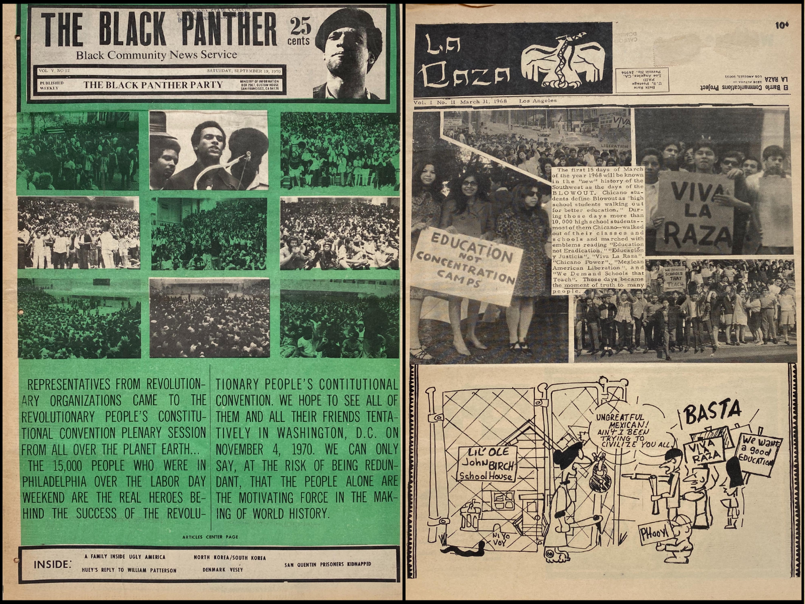 Black Panther and La Raza newspaper covers