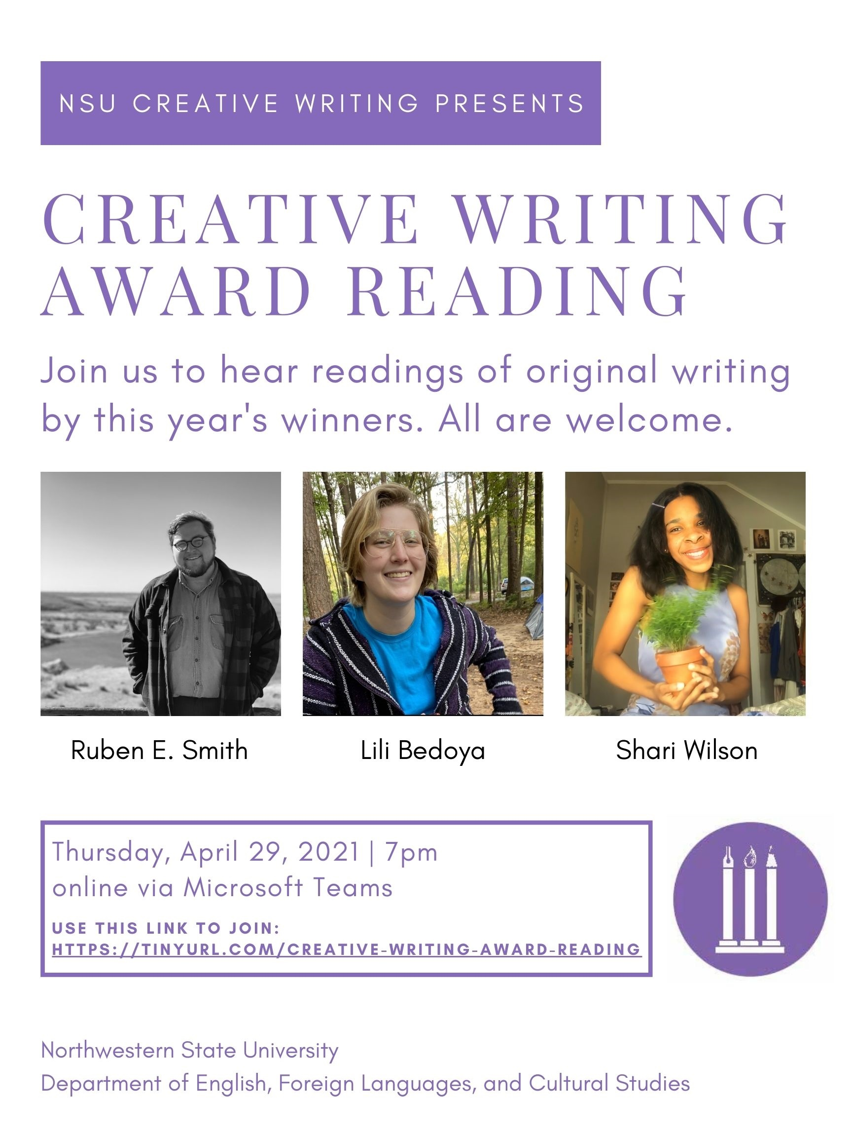 info about reading/awards ceremony April 29