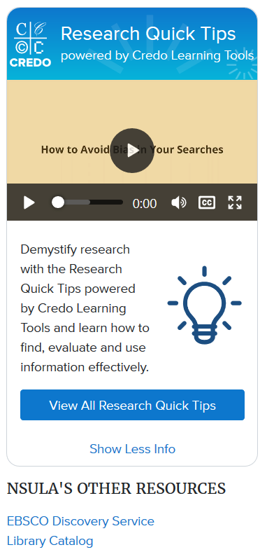 credo research quick tips