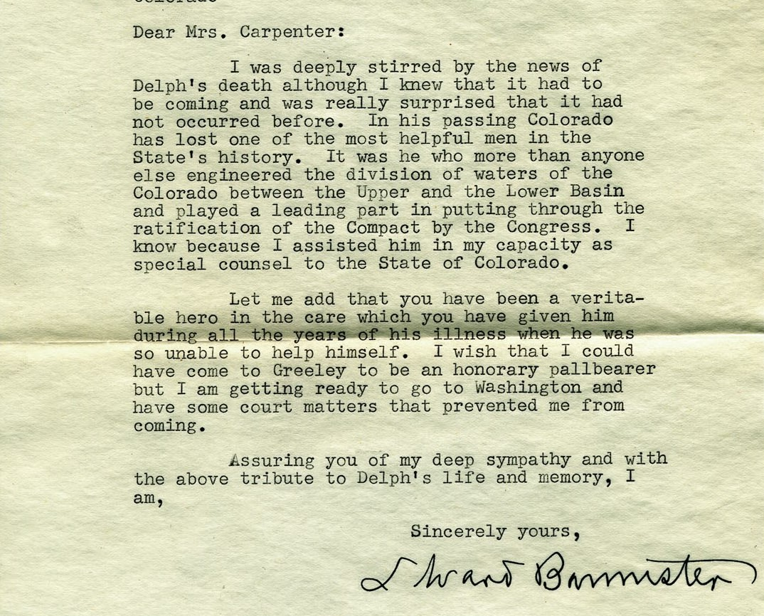 1951 letter from L. Ward Bannister