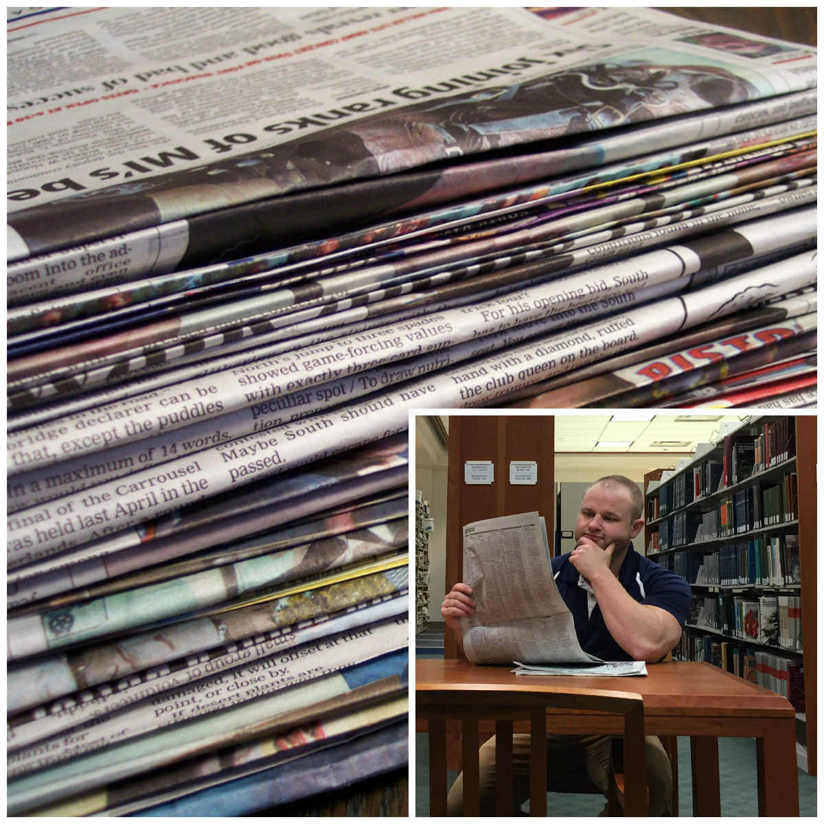collage of newspapers and a reader