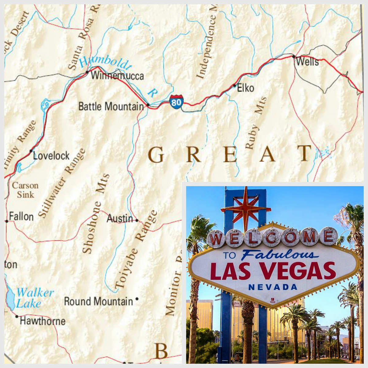 collage of nevada map and the last vegas welcome sign
