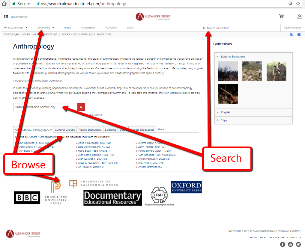 Anthropology Home page screenshot