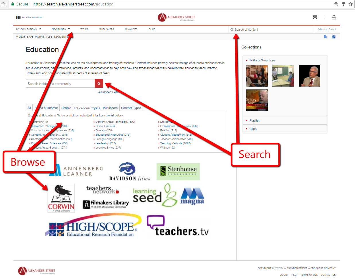 Education Homepage Screenshot