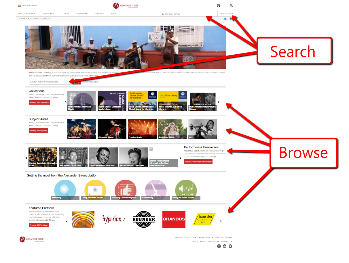 Alexander Street Music Online homepage showing where to search and browse
